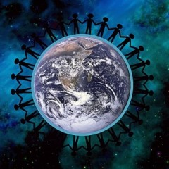 Graphic image of earth with children holding hands around it.