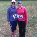 College of Nursing and Health Sciences Professors Sarah Camhi (right) and Emily Jones (left) pose after completing the Peaked Mountain 7K.