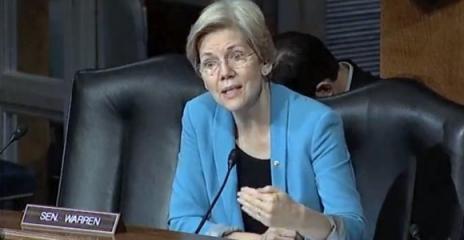 Massachusetts Senator Elizabeth Warren sitting down and speaking