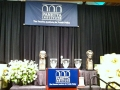 Image of stage setting at Jefferson Lincoln Awards ceremony at Panetta Institute. Image by Mike Sutton.