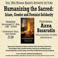 image flyer with geometric background, cover of speakers book Humanizing the Sacred, and event information.