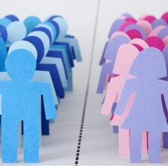 graphic of men and women paper dolls across aisle