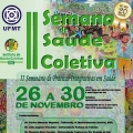 Official poster for II Semana de Saúde Coletiva with a drawing of Brazilians in the background.