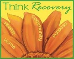 Picture of flower and text that says Think Recovery