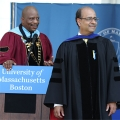 Professor Arindam Bandopadhyaya and Chancellor J. Keith Motley at commencement.