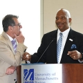 Students, faculty, and staff from the College of Nursing and Health Sciences along with panelists and Chancellor Motley and Eric Schultz