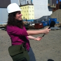 Digital Communications Specialist Anna Pinkert captures the sound of construction at the ISC.