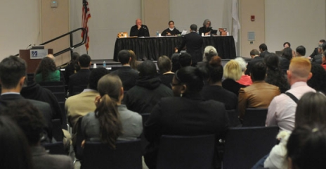 The Massachusetts Appeals Court was in session October 18 in UMass Boston's Campus Center Ballroom.