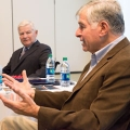 William Bulger (left) and Michael Dukakis (right) speak to UMass Boston honors students tasked with enriching the Strand Theatre.