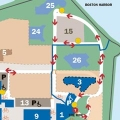 UMass Boston map showing access in front of the Campus Center and to the HarborWalk