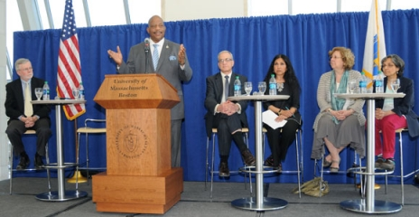 Chancellor J. Keith Motley kicked off a conversation on access to education with remarks on civic virtue and democracy.