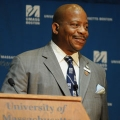Chancellor Motley delivering the convocation address