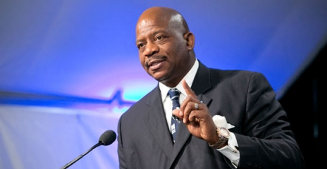 Chancellor J. Keith Motley speaks during the $1 million Sanofi and Genzyme partnership announcement.