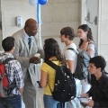 UMass Boston Chancellor J. Keith Motley welcomes students back to school
