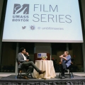UMass Boston Film Series Curator Chico Colvard '97 with filmmaker Abigail Disney
