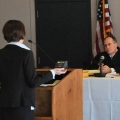 The Massachusetts Appeals Court holds a session in UMass Boston's Joseph P. Healey Library in March 2012.