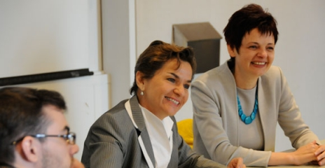 Christiana Figueres also took part in a roundtable discussion. She is pictured here with Assistant Professor Maria Ivanova.