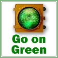 Graphic with a green traffic light that says