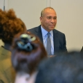 Governor Deval Patrick talked to Honors College students in the Becoming a Leader class about humility, listening, and tone.