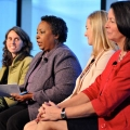 Sylvia Ferrell Jones, CEO of the YWCA of Boston, and the other panelists at the New England Women's Policy Conference