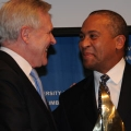 Gov. Deval Patrick presents Secretary of the Navy Ray Mabus with an award from the Collaborative Institute for Oceans, Climate, and Security