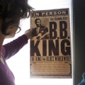 Rachel Rubin and Jo Ellen Hillyer inspect a B.B. King poster.