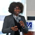 S. Atyia Martin speaks to the UMass Boston community