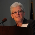 EPA Administrator Gina McCarthy '76 spoke at UMass Boston in May 2010.