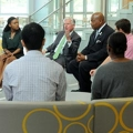 President Marty Meehan meets with students in the ISC.