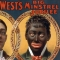 Poster of a performer in blackface says Wm. H. West's Big Minstrel Jubilee