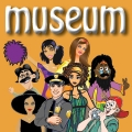 Graphic that has cartoon people on it that says Museum