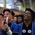 UMass Boston doctoral students earning their PhDs at commencement