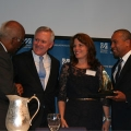 Ray Mabus (second from left) attended the GC '12 with Provost Winston Langley, Robbin Peach, and Gov. Deval Patrick.