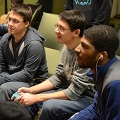 James Rasher, Matt Ng, and Michael Henderson play Super Smash Brothers