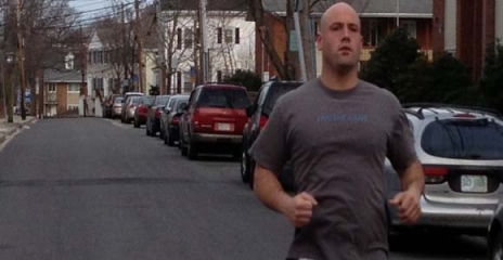 Steven Tashjian practices his running for the Boston Marathon