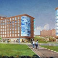 Rendering of UMass Boston student housing, set to open in 2018