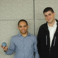 Bounce Imaging's David Young (left) and Francisco Aguilar (right) and one of the bouncy-ball cameras. Photo courtesy: BostInno
