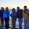 UMass Boston Professor Meng Zhou (far right) with the UMass Boston krill research team, off the coast of Antarctica.