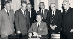 Gov. Endicott Peabody signed the legislation that established UMass Boston on June 18, 1964.