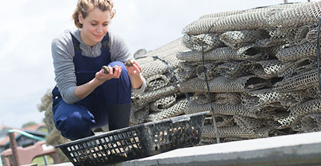 Student examining basket of shellfish at edge of water