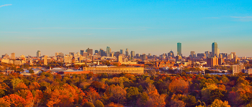 An aerial view of Boston during Fall.