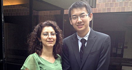A photo of Teacher Ani Gjika and Student Yunpeng Xu