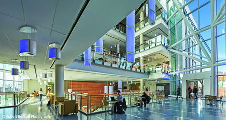 Students study in UMass Boston's Integrated Sciences Complex.