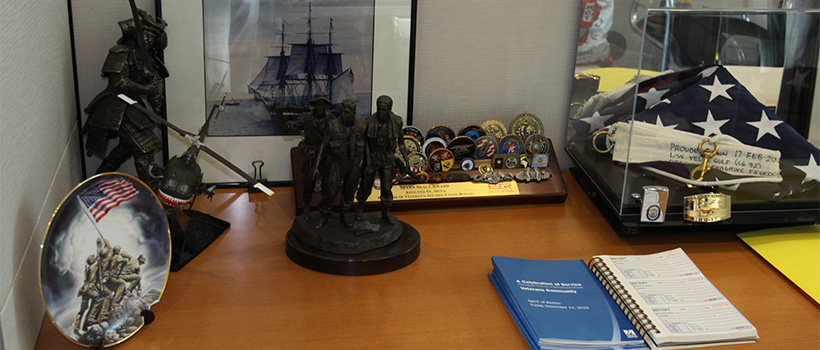 Memorabilia on display in the Office of Veterans' Affairs