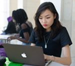Female student on a laptop