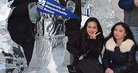 International Students showing UMass Boston pride