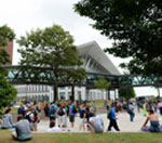 People outside UMass Boston's Campus Center