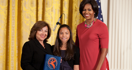 Lucia Mayerson-David and First Lady Michelle Obama at the White House