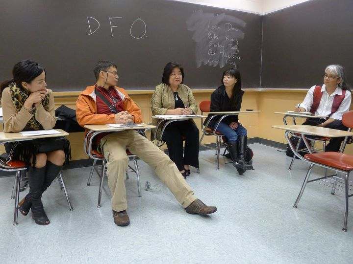 Some of UMass Boston's AsAmSt teaching faculty: Professors Shirley Tang, Chris Fung, Pat Neilson, Loan Dao, Karen Suyemoto. Photo taken in AsAmSt 238L on September 29, 2011 by Peter Kiang.