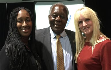 Andreen Gilpin '04, Charlie Titus, and Eileen Fenton '91 at Saturday's Hall of Fame induction ceremony.